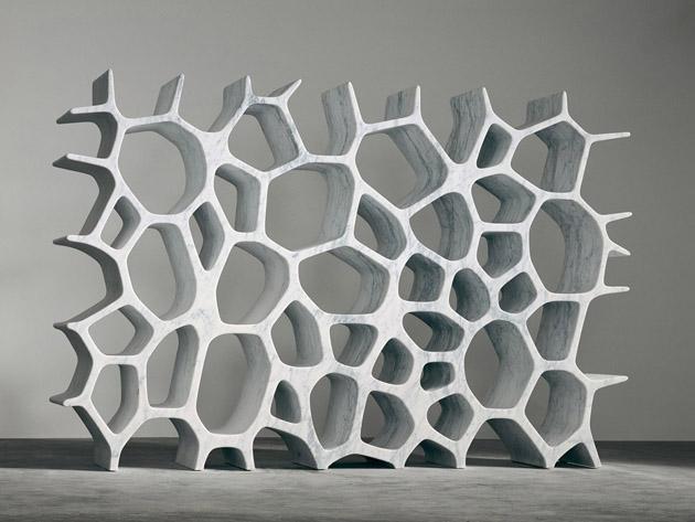 Marc Newson * Influential Designer and Unique Design Voronoi Shelf White Carrara Marble 2007 Gagosian Gallery New York