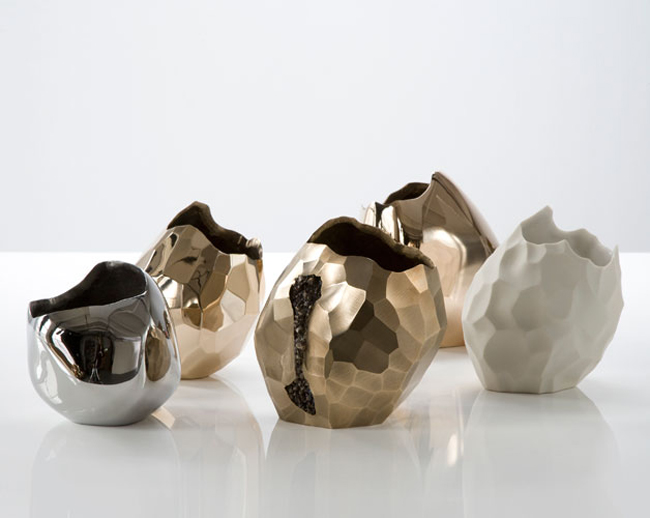 David Wiseman * R Gallery  2 Stainless steel bronze and porcelain vases