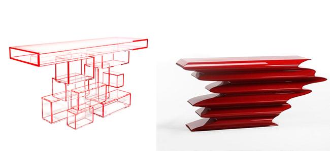 Hervé Van der Straeten *  Hand-craft Exclusive Design Herve   Van der Straeten 425 CONSOLE PROPAGATION 340 CONSOLE PSYCHOSE PRUNE