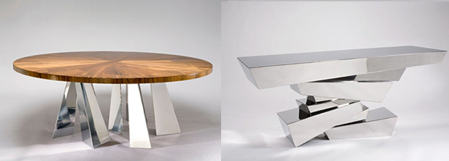 Hervé Van Der Straeten Hand Craft Exclusive Design Table Swing 334 Console Clash 335