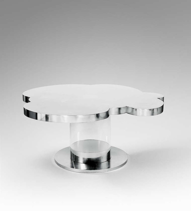 Stainless steel and altuglas dinig table by Guy de Rougemont. 1971