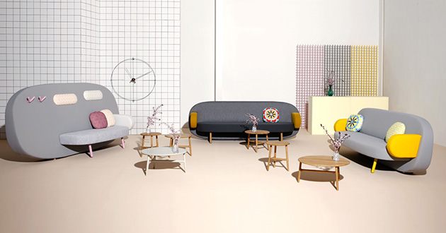 Sancal's*Geometric Float sofa Sancal Geometric Float sofa bold colors