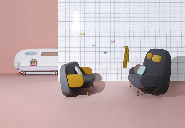 Sancal's*Geometric Float sofa Sancal Geometric Float sofa vibrant colors
