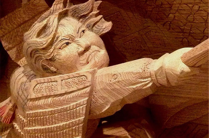 sculptural wooden japanese heroes