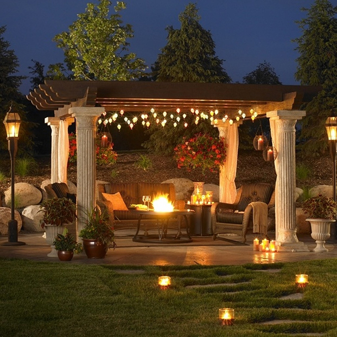 25 Interior Design Ideas for Valentine's Day 2017 valentine's day 2017 25 Interior Design Ideas for Valentine's Day 2017 Classic Greek Pergola With Sweet String Lights And Comfortable Couch Using Metal Fire Pit