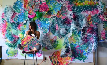 Crystal Wagner transforms single-use materials into colorful sculptures