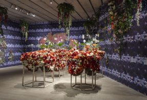 Night garden of toxic silk flowers and neo-baroque tapestries